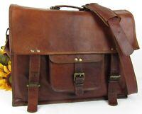 Vintage Honey Oak Distressed Leather Messenger Satchel Laptop Tablet Bag