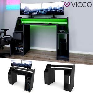 Bureau informatique VICCO JOEL, bureau PC noir, bureau gaming, bureau, bureau ga