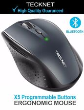TeckNet Programmable Bluetooth Wireless Mouse Ergonomic laptop fit logitech micr
