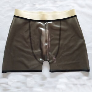 Latex Handsome Boxer Shorts Rubber Erotic Smoke Grey  Underwear Size S-XXL