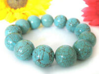 Huge natural 12mm blue turquoise round gemstone beads Elastic Bracelet 7.5'' AAA