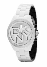 DKNY NY 8754 White and Silver Plastic Stainless Steel Caseback BNWT