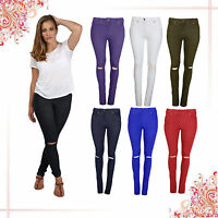 WOMENS HIGH WAISTED STRETCHY SKINNY JEANS LADIES RIPPED JEGGINGS KNEE CUT PANTS