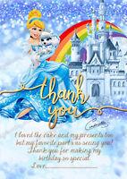 8 x Girls Disney Princess Cinderella party Thank you cards Thick +Free Envelopes