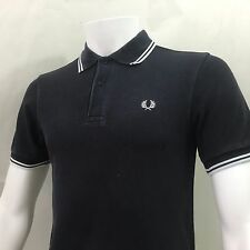 Fred Perry Mens Polo shirt small 38 S casuals navy white twin tip slim