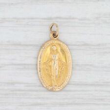 Marian Cross Charm Virgin Mother Mary Prayer 14k Yellow Gold Catholic Pendant
