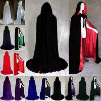 2017 New Velvet Halloween Wedding Capes Cloaks Hooded Wicca Robe Christmas S-XXL