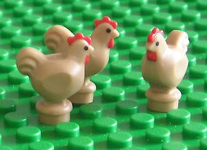 LEGO NEW 3 x Chickens Dark Tan - (Rooster Hen Chick Bird Farm Animal) - 95342 x3