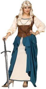 Viking Woman Costume 3 Pc Blue/Br Chemise Overdress Belt/Pouch Asst. Sizes