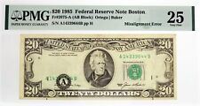 Series Of 1985 $20 Frn Boston Fr#2075-A Misalignment Error Note Pmg Vf25