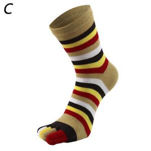 Rainbow Cotton Socks Five Finger Toe Socks Colorful Striped Men Women Fashion