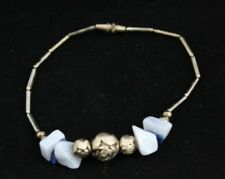 VINTAGE STERLING SILVER BRACELET 5 GRAMS WITH LAPIS BEADS