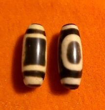 "2Pcs Qing Dynasty Old Tibet "" Heaven and Earth "" Tianzhu Dzi Bead  29.17x11.33mm"