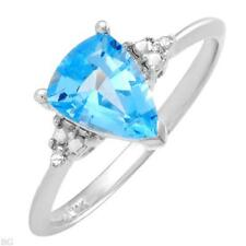 STUNNING SOLID 10K WHITE GOLD GENUINE DIAMOND AND TOPAZ RING 7 / O