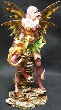 "Purple Green Fairy with Dragon Statue Figurine H10.75"""