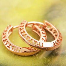 Chic 18K Real Rose Gold Filled Womens Small Round Circle Hoop earring Huggie