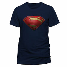 Superman Man of Steel - Textured Logo T-shirt Navy Large Tshirt