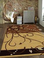 Modern Hand Tufted Wool Carpet Indian Oriental Scroll Area Rug Light Brown