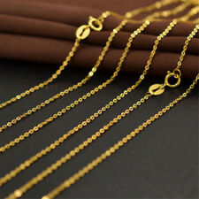 """Real 18K Gold Plated 18"""" Cable Chain Necklace Thin Plain HE"""
