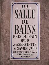 PLAQUE EMAILLEE pochoir salle de bain prix serviette savon  email metal tin sign