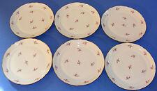 Série de 6 assiettes plates porcelaine de Couleuvre décors floraux filets or