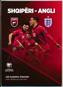 Albania v England (World Cup Qualifier) 2021 - RARE programme - slightly creased