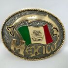 Mexico Mexican Flag Waving Belt Buckle Patriotic Green Gold Red White