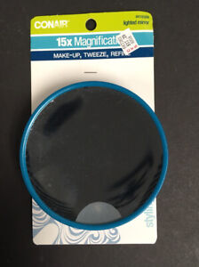 Conair 15x Magnification Lighted Mirror w/ Suctions Cups #41658N Blue Tweeze