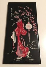 BEAUTIFUL VINTAGE MID CENTURY ORIENTAL LADY TILE DESVRES FRANCE Wall Hanging