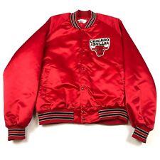 Vintage 80s 90s Chicago Bulls Red Satin Chalkline Starter Jacket sz XL