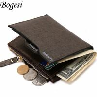 Bifold Coin Purse Pocket Money Clip Men's Leather Wallet ID Credit Card holder