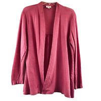 Love Linen J. Jill Open Knit Cardigan Sweater 100% Linen Pink Lightweight M/L