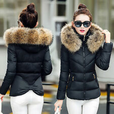 Winter Women's Down Cotton Parka Short Fur Collar Hooded Coat Quilted Jacket HOT