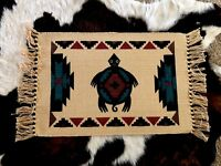 Southwestern TurtlePlacemat Woven Cotton Canvas Black Maroon Teal Table Runner