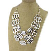 "18"" New Chicos Statement Pendant Necklace Gift FS Jewelry Silver Tone Rhinestone"