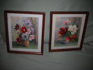 Art,  2 floral prints ,hand made frames, Paris Etching Society