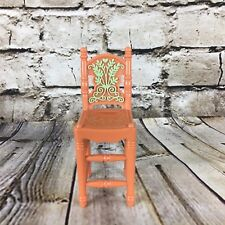 "Fisher Price Loving Family Dollhouse Brown Dining Room Chair 4.25"" Green Detail"