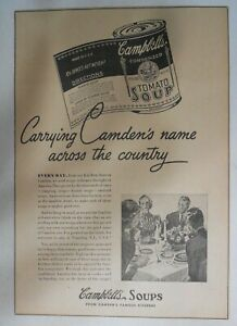 Campbell's Soup Ad: The Pride of Camden New Jersey ! from 1940's 11 x 15 inches