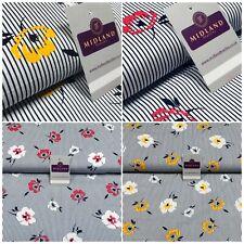Navy Stripped Flower Floral Printed Cotton Poplin Fabric 110 cm MK1262 Mtex
