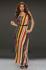Summer and Party Club Wear Chic Stripes Multicolour Pink Maxi Dress UK size 8-10