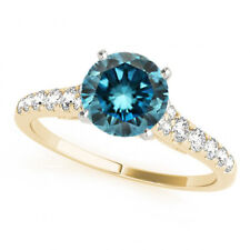 1.25 Cts Blue Diamond Solitaire 14k Yellow Gold Stylish Wedding Engagement Ring