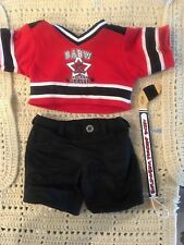 Build a Bear Red & Black Hockey Shirt, Shorts & Wood Hockey Stick - EUC
