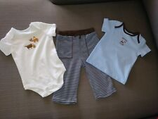 New Infant Boys Faded Glory Organic Cotton 3 Pc Bodysuit Pants Set Size 6-9M