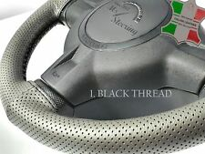 FOR PRAGA TOV -GREY PERF LEATHER STEERING WHEEL COVER DIFF STITCH