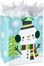 Hallmark Large Christmas Gift Bag with Tissue Paper Snowman with Ear Muffs X2