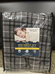 NEW Ruvanti Gray 3 Piece Twin Bed Soft 100% Cotton Plaid Flannel Sheet Set