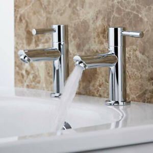 Modern Bathroom Basin Taps Hot & Cold Pair Twin Chrome Lever Handle Solid Brass