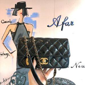 Auth CHANEL Matelasse Leather x Enamel Classic Flap Shoulder Bag Navy GHW