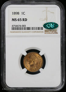 1898 1c Indian Head Cent NGC MS 65 Red CAC | RD Uncirculated BU