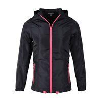 Women's Black NeonPink Windbreaker Lightweight Hoodie Rain Guard Outdoor Outwear